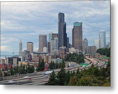 Metal Print featuring the photograph Seattle Downtown Skyline On A Cloudy Day by JPLDesigns
