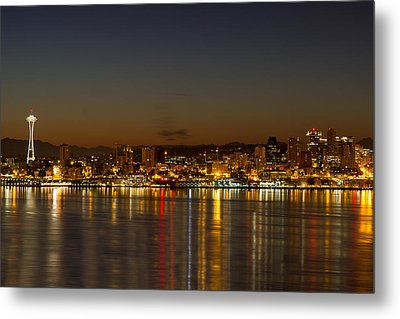 Metal Print featuring the photograph Seattle Downtown Skyline Reflection At Dawn by JPLDesigns