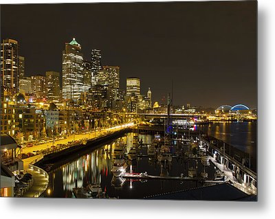 Metal Print featuring the photograph Seattle Downtown Waterfront Skyline At Night Reflection by JPLDesigns