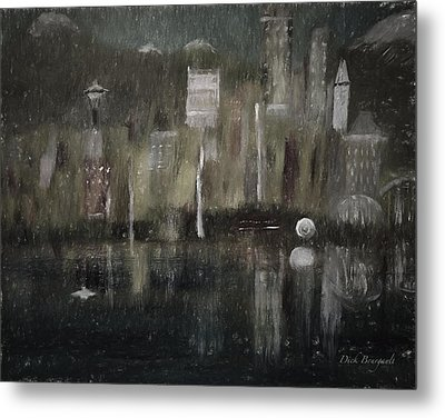 Seattle In The Rain Cityscape Metal Print by Dick Bourgault