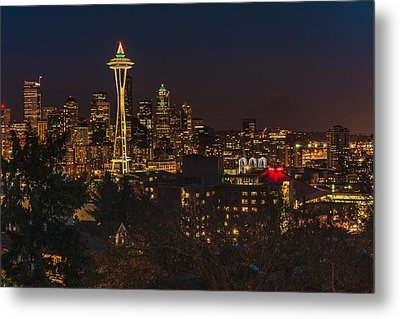 Seattle Night Lights Metal Print