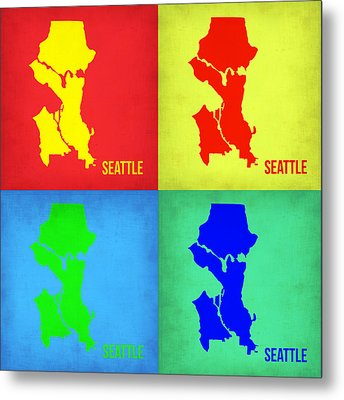 Seattle Pop Art Map 1 Metal Print by Naxart Studio