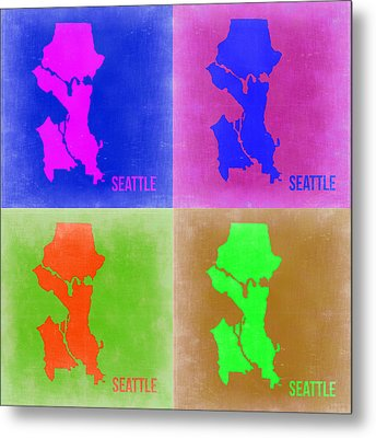 Seattle Pop Art Map 2 Metal Print by Naxart Studio