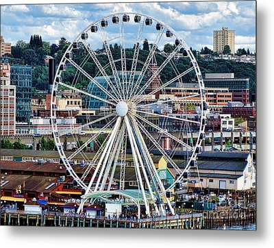 Seattle Port Ferris Wheel Metal Print by Gena Weiser