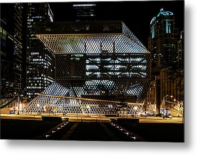Seattle Public Library At Night Metal Print by Brian Xavier