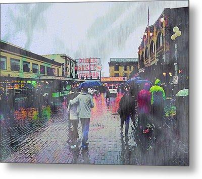 Seattle Public Market In Rain Metal Print by John Fish