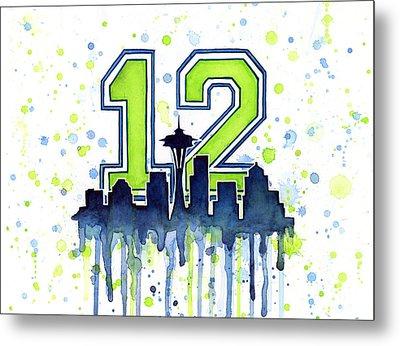 Seattle Seahawks 12th Man Art Metal Print by Olga Shvartsur