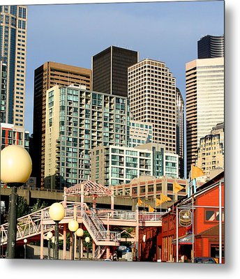Seattle Skyline. Metal Print by Art Block Collections
