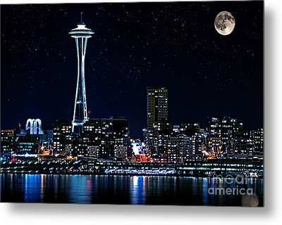 Seattle Skyline At Night With Full Moon Metal Print