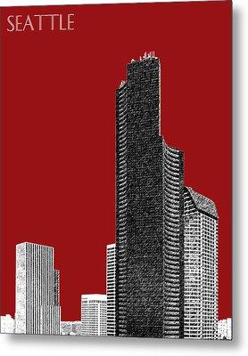 Seattle Skyline Columbia Tower - Dark Red Metal Print by DB Artist