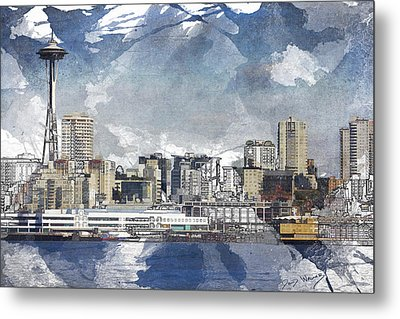 Seattle Skyline Freeform Metal Print