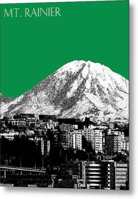 Seattle Skyline Mt. Rainier - Forest Green Metal Print