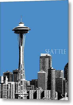 Seattle Skyline Space Needle - Slate Blue Metal Print by DB Artist