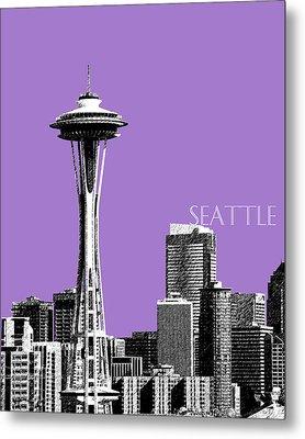 Seattle Skyline Space Needle - Violet Metal Print