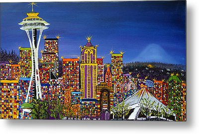 Seattle Space Needle At Dusk Metal Print by Portland Art Creations
