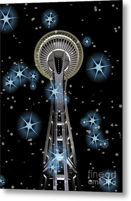 Metal Print featuring the digital art Seattle Space Needle Blue Stars by Chalet Roome-Rigdon