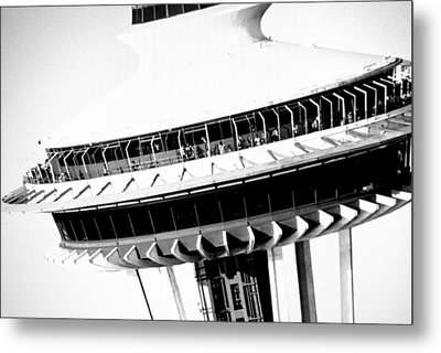 Metal Print featuring the photograph Seattle Space Needle Close Up by Amy Giacomelli
