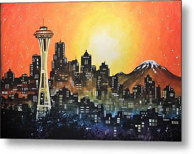 Metal Print featuring the painting Seattle Sunset by Amy Giacomelli