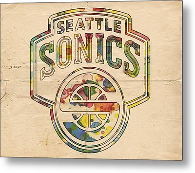 Seattle Supersonics Poster Art Metal Print by Florian Rodarte