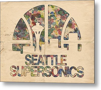 Seattle Supersonics Poster Vintage Metal Print