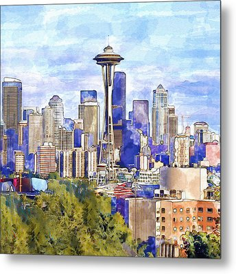 Seattle View In Watercolor Metal Print by Marian Voicu