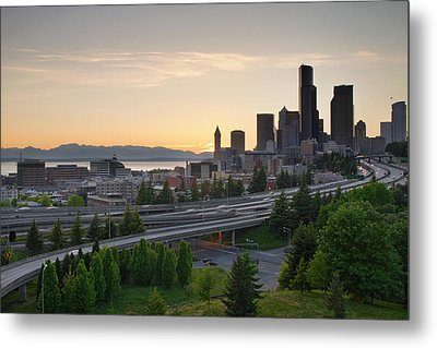 Metal Print featuring the photograph Seattle Washington Downtown City Sunset by JPLDesigns