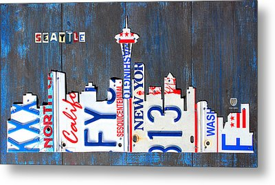 Seattle Washington Space Needle Skyline License Plate Art By Design Turnpike Metal Print by Design Turnpike