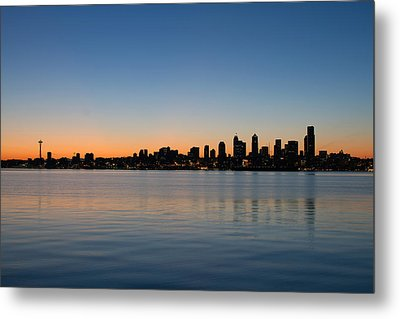 Metal Print featuring the photograph Seattle Washington Waterfront Skyline At Sunrise Panorama by JPLDesigns