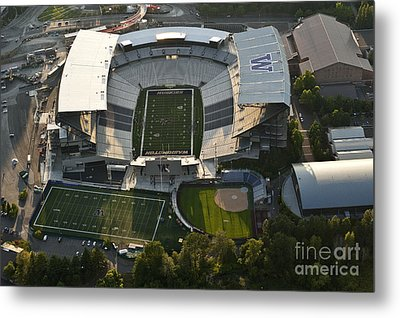 Seattle With Aerial View Of The Newly Renovated Husky Stadium Metal Print