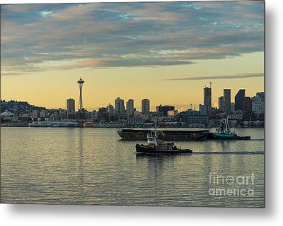 Seattles Working Harbor Metal Print