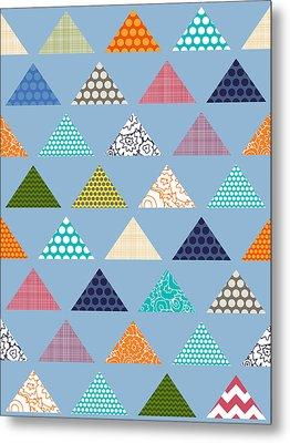 Seaview Triangles Blue Metal Print