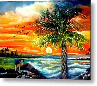 Seawaves Sunset In Tampa Metal Print by Yolanda Rodriguez