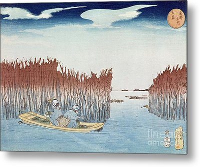 Seaweed Gatherers At Omari Metal Print by Utagawa Kuniyoshi