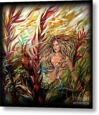 Seaweed Mermaid Pillow Metal Print