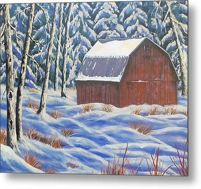 Metal Print featuring the painting Secluded Barn by Susan DeLain