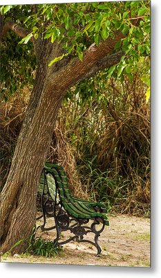 Secluded Park Benches Metal Print by Jess Kraft