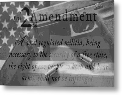 Second Amendment Black And White Metal Print by Dan Sproul