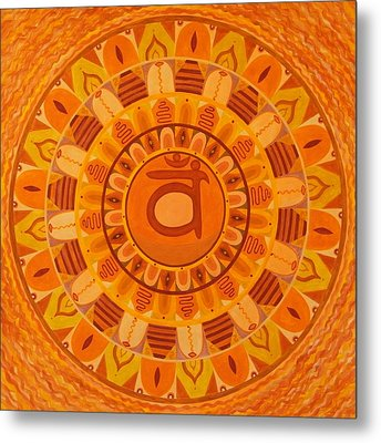 Second Chakra Mandala Metal Print by Vlatka Kelc