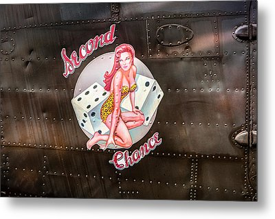 Second Chance - Aircraft Nose Art - Pinup Girl Metal Print by Gary Heller
