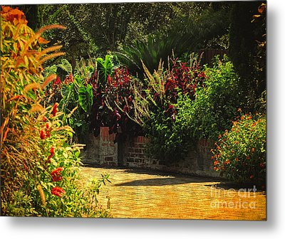 Metal Print featuring the photograph Secret Garden Path by Kathy Baccari