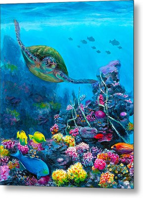 Secret Sanctuary - Hawaiian Green Sea Turtle And Reef Metal Print by Karen Whitworth