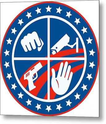Security Cctv Camera Gun Fist Hand Circle Metal Print by Aloysius Patrimonio