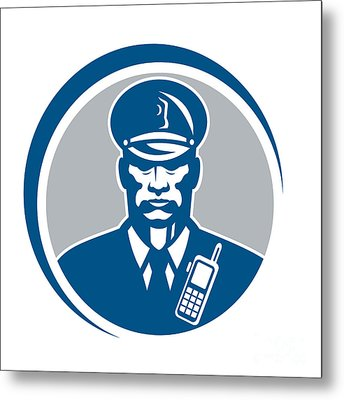 Security Guard Police Officer Radio Circle Metal Print by Aloysius Patrimonio
