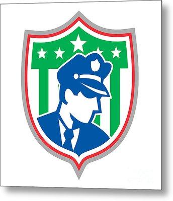 Security Guard Police Officer Shield Metal Print by Aloysius Patrimonio