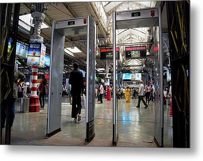 Security Scanners At Mumbai Station Metal Print by Mark Williamson