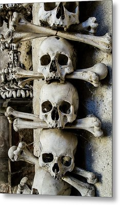 Sedlec Ossuary Bones Metal Print by Vidapix Photographer Laura Tagle Jimenez