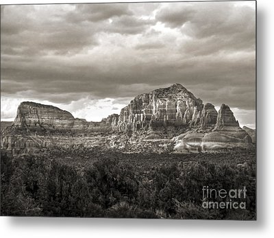 Sedona Arizona Black And White Mountains And Big Sky Metal Print by Gregory Dyer