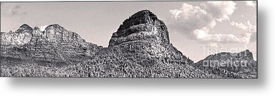 Sedona Arizona Panorama In Black And White Metal Print by Gregory Dyer