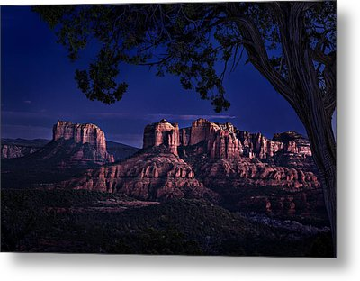 Sedona Cathedral Rock Post Sunset Glow Metal Print by Mary Jo Allen