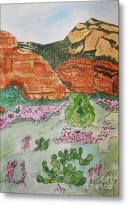 Sedona Mountain With Pears And Clover Metal Print by Marcia Weller-Wenbert